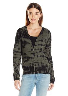 Monrow Women's Crocodile Tie Dye Zip Front Sweatshirt  XS