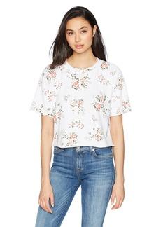 Monrow Women's Cut Off Sweatshirt with Floral Print