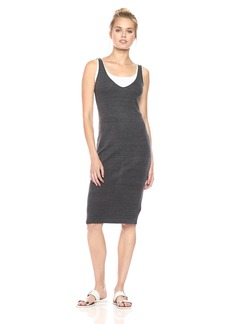 Monrow Women's Double Layer Rib Tank Dress  XS