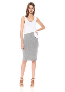 Monrow Women's Double Layer Tank Dress W/Knot  Extra Small
