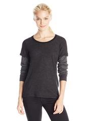 Monrow Women's Double Layer Thermal Long Sleeve Tee Black/Grey XS
