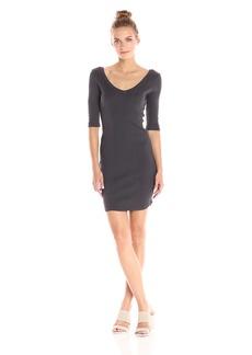 Monrow Women's Double V-Neck Rib Dress  S