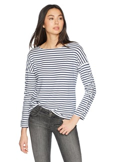 Monrow Women's French Boat Neck Top w/Lace up Sleeves  Extra Small