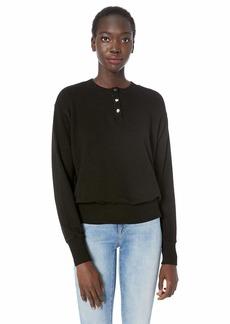 Monrow Women's Henley Sweatshirt  Extra Small