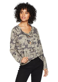 Monrow Women's Lace Up Sweatshirt with Camo Stardust  Extra Small