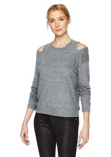 Monrow Women's Neck Cut Out Long Sleeve Shirt