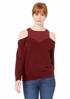 Monrow Women's Off Shoulder Double Layer Sweatshirt