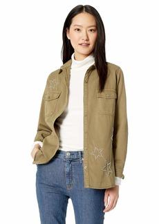 Monrow Women's Pocket Shirt w/Star Dust Studs  Extra Small