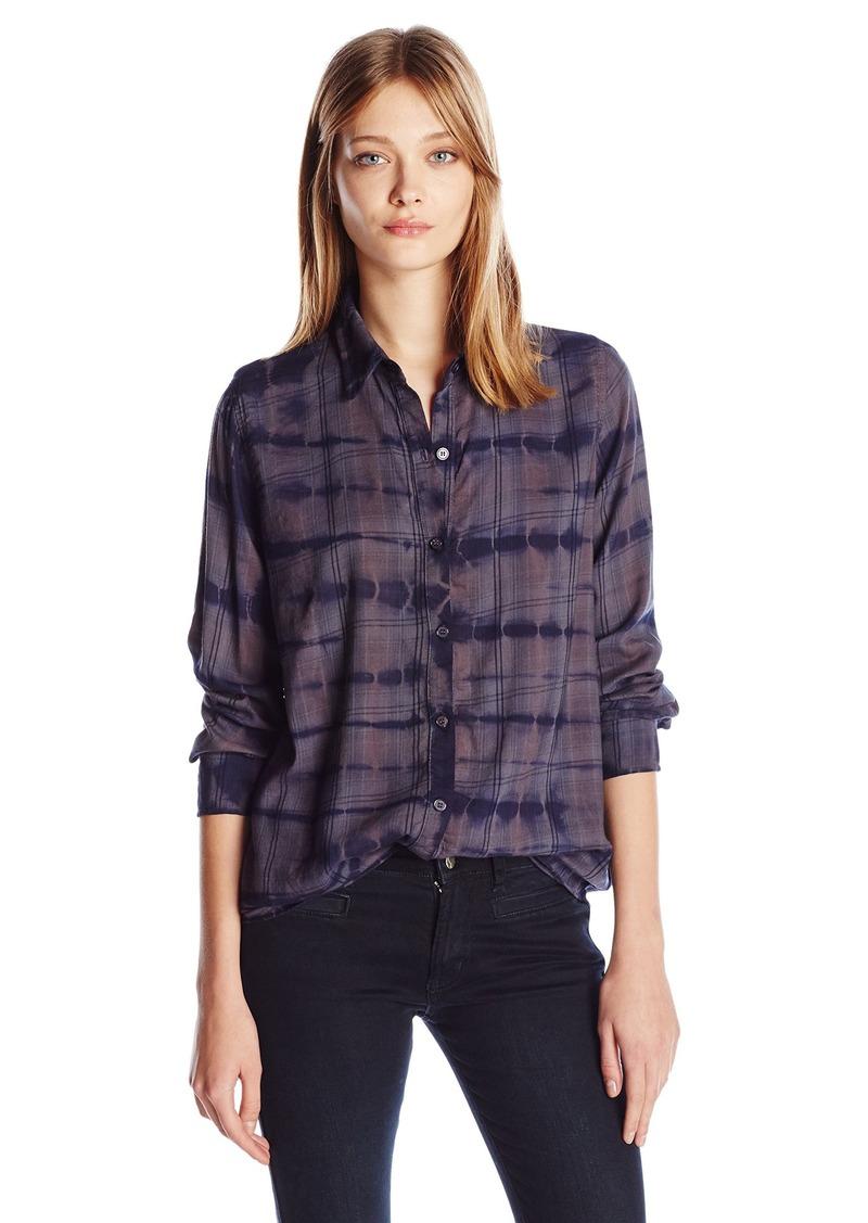 Monrow monrow women 39 s rouge plaid croc tie dye basic shirt for Basic shirts for women