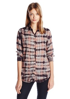 Monrow Women's Rouge Plaid Croc Tie Dye Basic Shirt  XS