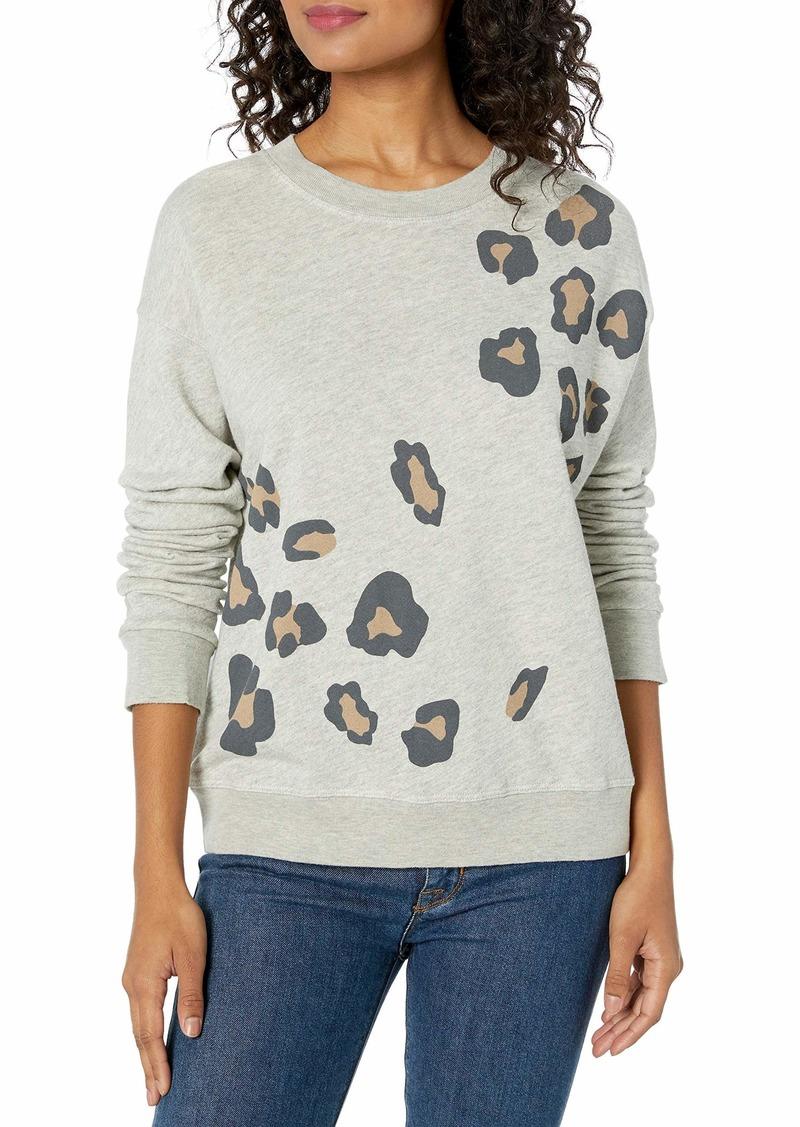 Monrow Women's Seamed Sweatshirt w/Oversized Leopard Print