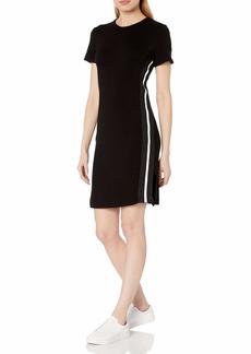 Monrow Women's Short Sleeve Dress with Side Stripe Trim