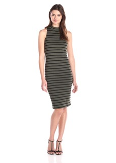 Monrow Women's Sleeveless Stripe Turtleneck Dress