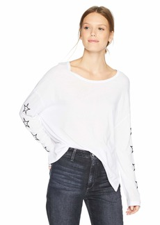 Monrow Women's Slouchy Top w/Embroidered Outline Stars