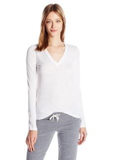 Monrow Women's Slub Long Sleeve V-Neck  XS