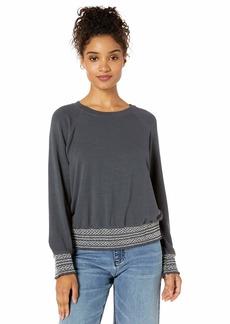 Monrow Women's Smocked Waist Raglan Sweatshirt