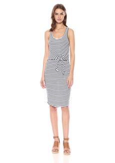 Monrow Women's Stripe Dress with Tie Front White/Navy
