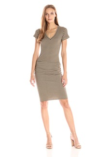 Monrow Women's Stripe Rib V-Neck Shirred Dress  L