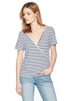 Monrow Women's Stripe TEE W/Crossover Back