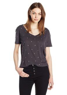 Monrow Women's Studded Swiss Dot V-Neck  S