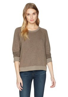 Monrow Women's Supersoft Sweatshirt with Lace up Back