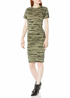 Monrow Women's Tiger Crew Shirred Dress