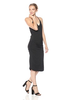 Monrow Women's V Neck Racer Back Shirred Dress  XS