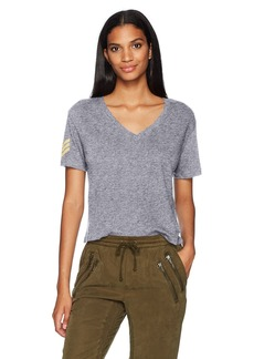 Monrow Women's V Tee with Military Patch  XS