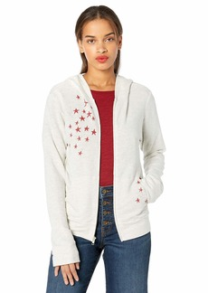 Monrow Women's Zip Up Hoody w/Faded Stars ash with red