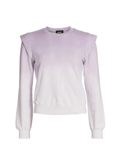 Monrow Ombre Wash Ruffle-Shoulder Sweatshirt