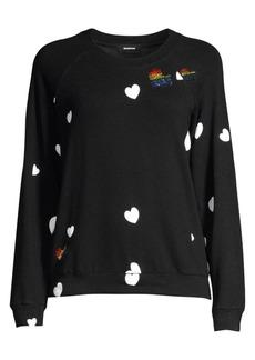 Monrow Rainbow Heart Crewneck Sweatshirt