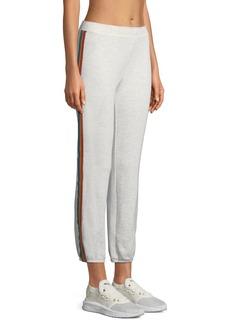 Monrow Rainbow-Stripe Full-Length Sweatpants
