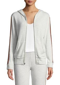 Monrow Rainbow-Stripe Zip-Up Hoodie Sweatshirt