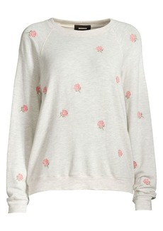 Monrow Rosed Embroidered Drop Shoulder Sweater