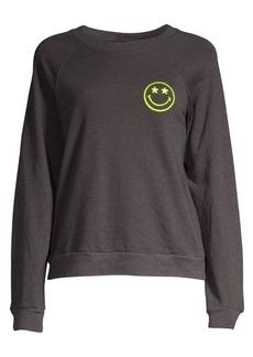 Monrow Smiley Graphic Raglan-Sleeve Sweatshirt