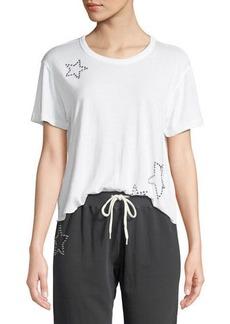 Monrow Studded Scoop-Neck Star Activewear Tee