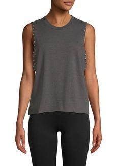 Monrow Studded Sweatshirt Tank Top