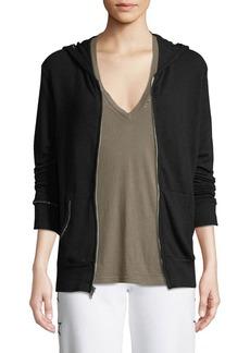 Monrow Studded Zip-Up Hoodie Sweatshirt
