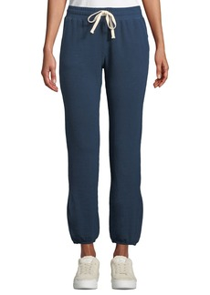 Monrow Super-Soft High-Waist Straight-Leg Ankle-Length Sweatpants w/ Drawstring Ties
