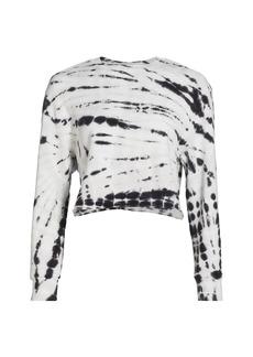 Monrow Supersoft Fleece Painter Tie-Dye Cropped Boyfriend Sweatshirt