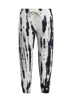 Monrow Supersoft Fleece Painter Tie Dye Cropped Relaxed Sweatpants