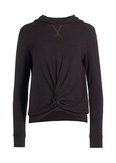Monrow Twist-Front Hooded Sweatshirt