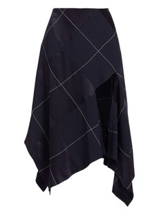 Monse Asymmetric Argyle Midi Skirt