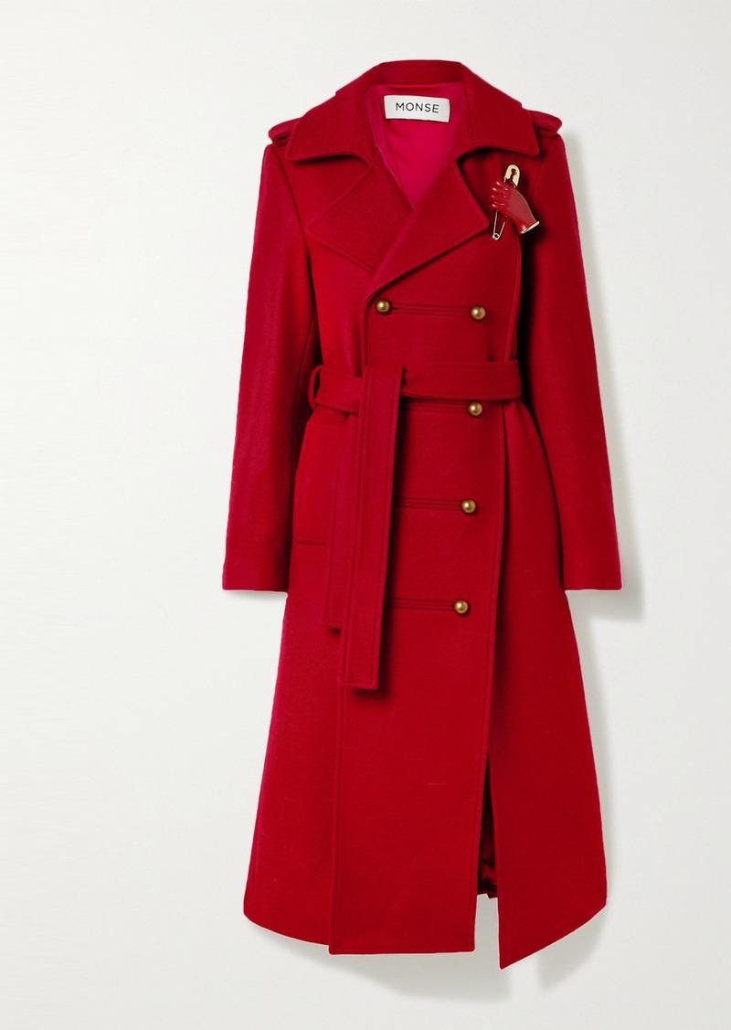 Monse Asymmetric Embellished Wool-blend Coat