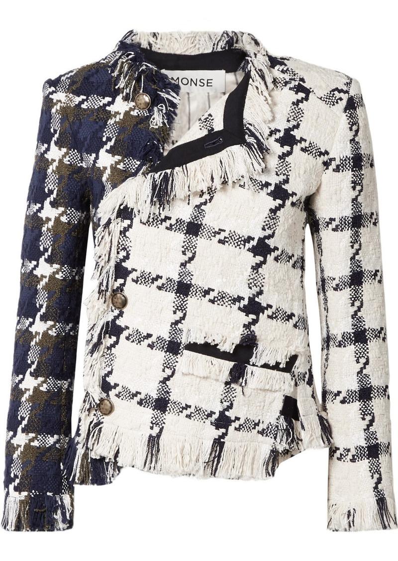 Monse Asymmetric Fringed Cotton-blend Tweed Jacket