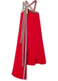 Monse Asymmetric Grosgrain-trimmed Crepe Midi Dress