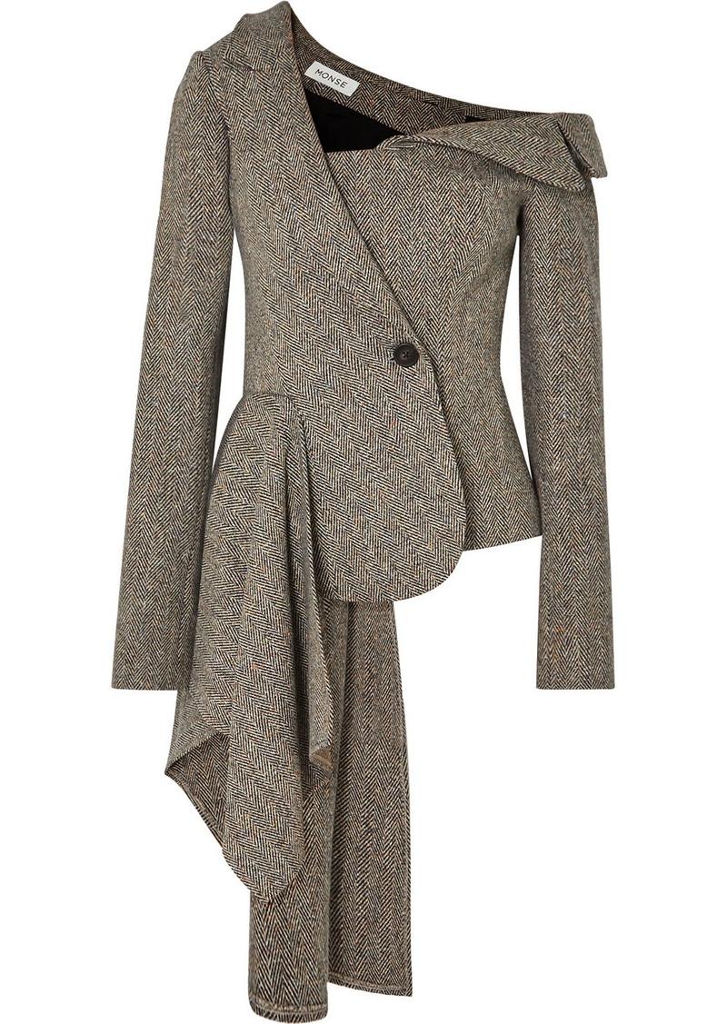 Monse Asymmetric Herringbone Wool-blend Blazer
