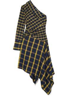 Monse Asymmetric One-shoulder Ruffled Checked Brushed-cotton Dress