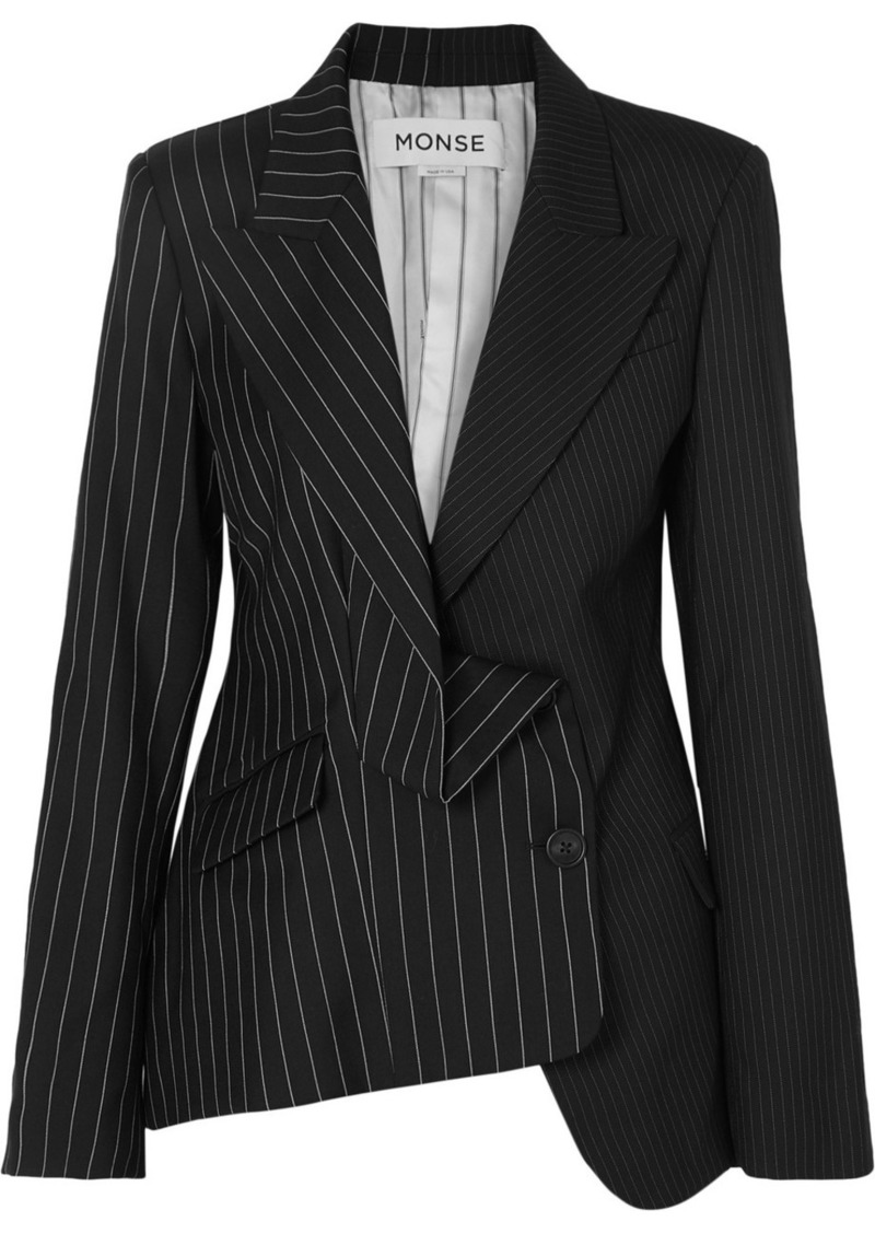 Monse Asymmetric Paneled Pinstriped Wool Blazer
