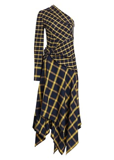 Monse Asymmetric Patchwork One-Shoulder Midi Dress